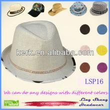Sombrero de paja blanco llano vendedor caliente de la cinta 100% de los cequis, LSP16