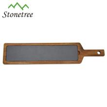 Venta caliente al por mayor de Lava Stone + Wood que cocina el tablero del queso de la pizarra