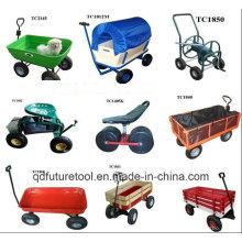 Vagão de carrinho de jardim de madeira com rodas pneumáticas Kid Wagon com painéis de madeira Tc1812