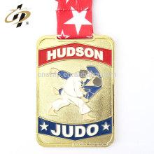 Bulk items zinc alloy enamel gold plated judo award medals with ribbon