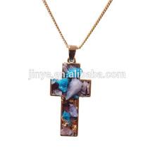 Mode Boho Druzy Kristall Anhänger Halskette, religiöse Religious Schmuck
