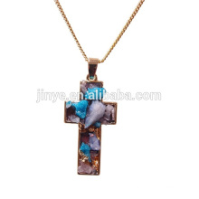 Fashion Boho Druzy Crystal Pendant Necklace,Cross Religous Jewelry