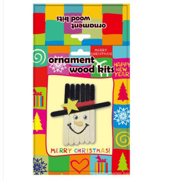 kids decoration Great Popsicle wooden christmas snow men accessories handmade DIY craft kit