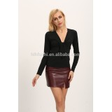 clothing manufacturer 2016 fall fashion jabot low neckline long sleeve lady blouse & top