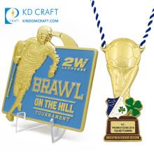 Manufacturer custom made metal zinc alloy casting embossed 3d enamel gold plated sport box lacrosse fencing medals