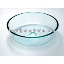 L'évier en verre de salle de bain clair et transparent de 10 à 12 mm comprend un bol en verre à vidange
