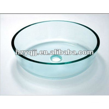 10 to 12mm single layer round clear bathroom glass sink include pop-up drainer glass bowl