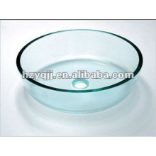 От 10 до 12 мм однослойная круглая прозрачная стеклянная раковина для ванной комнаты включает всплывающую стеклянную миску
