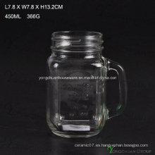 Country Style 450ml claro con la manija de vidrio Mason Jars para la venta