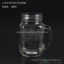 Style de style 450ml Clear with Handle Glass Mason Jars for Sale