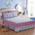Saia da cama babado impresso montado saia da cama