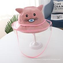 Chapeau anti-gouttelettes chat rose pour enfant