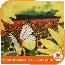 Printed with sunflowers polyester fabric on sale