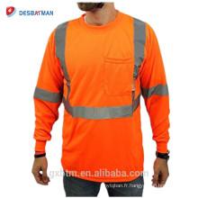 Classe 2 haute visibilité réfléchissant néon orange couleur humidité mèche maille polo à manches longues