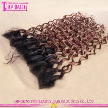 Qualidade superior moda cabelo humano indiano loira laço Frontal cabelo peças