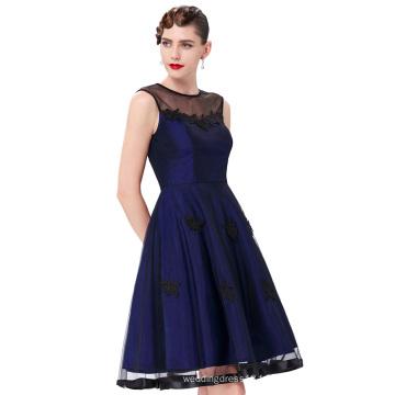 Belle Poque Stock sans manches en rond N / T Taffetas Bleu foncé Vintage Retro 50s 60s Robe BP000112-4