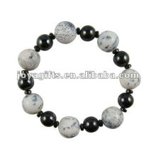Fashion Hematite Howlite Beaded Bracelet
