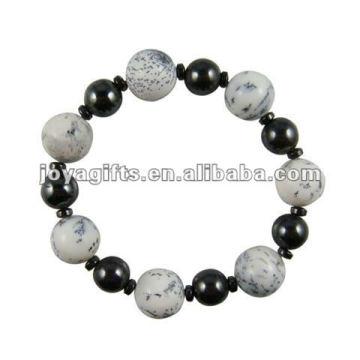 Fashion Hematite Howlite Beaded Bracelet