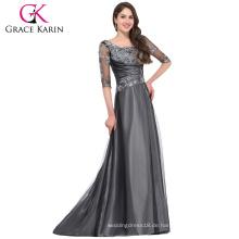 Grace Karin 2016 Neue Kollektion 1/2 Ärmel Rundhals Dunkelgrau Lange Mutter der Braut Kleid mit Ärmeln GK000029-1