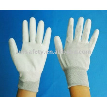 13G nylon knitted seamless ESD glove with white PU on the palm