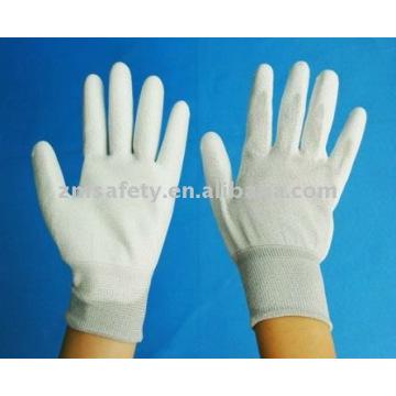 Guante de ESD sin costuras de nylon 13G con PU blanca en la palma