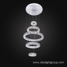 modern steel chandelier with crystal rings lighting