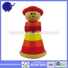 Holz lustige Gesicht Clown Stapler Spielzeug