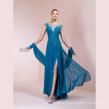 Chiffon Blue Applique Beading A Line Evening Dress