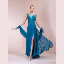 Vestido de Chiffon Azul Applique Beading A Line Evening