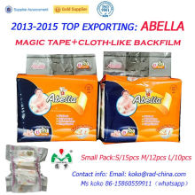Abella High Quality Cloth Like Magic Tapes Velcros Soft Comfortable Africa Market Baby Diapers