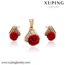 64219-xuping fashion jewelry 18k gold diamond red flower sets