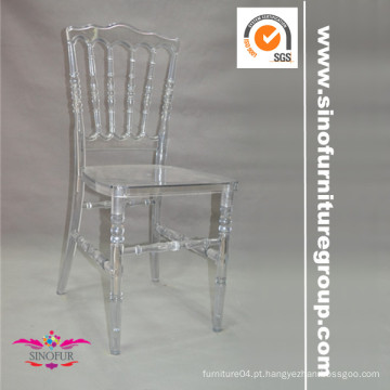 Cadeiras de casamento napoleão de resina clara para aluguel