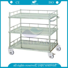 AG-SS022B stainless steel material treatment medical clinical trolley three shelves