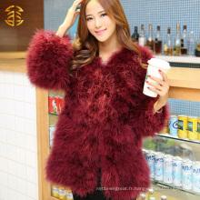 Nouveaux manteaux de fourrure à la mode pour vêtements de femme Manteaux d'hiver à fourrure bon marché Manteaux de fourrure en plume