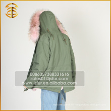 Оптовый Красочный Raccoon Подлинная Подкладка Fox Fur Hooded Parka