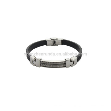 genuine black leather bracelet with steel fashion style jewellery