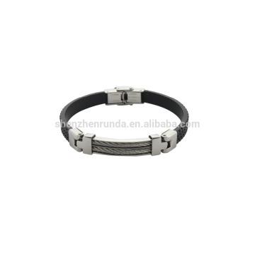 Bracelete de couro preto genuíno com jóia do estilo da forma do aço