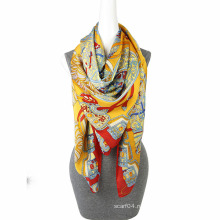 Мода печать шифон бутик шарф квадратный шарф