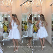 Vestidos de fiesta 2017White broderie courte Robes de cocktail Robe De Lace MC2567
