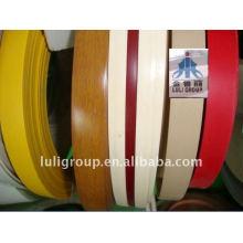 Bande de bordure de PVC (bande de PVC) avec la couleur pleine et la couleur de grain en bois