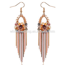attractive teenage colorful crystal diamon j shaped beautiful for girls wedding earrings