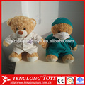 Custom made printing embroider logo plush nurse bear