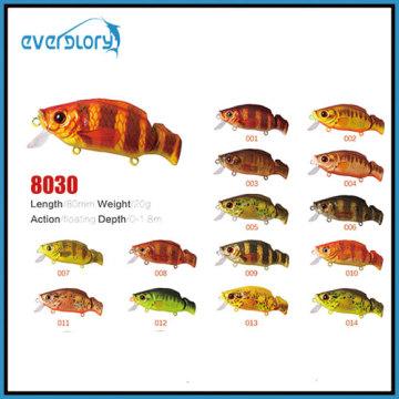 Leurre de pêche d'action de flotteur de surface de 60mm/8.5g avec la diverse couleur