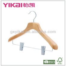 2013 new style wooden coat hanger with metal clips
