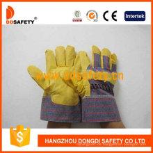 Gelbe PVC-Handschuhe mit Streifen zurück Dgp101