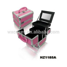 metal caso cosmético profesional con 2 bandejas y espejo interior fabricante