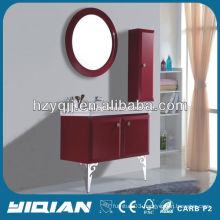 Popular Bathroom Red Wall Mounted Cabinet With Round Mirror PVC Bathroom Cabinet