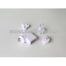 4ports cargador USB para móviles, US EUR AU UK TW JP option
