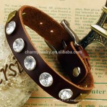 2015 nova super boa qualidade pulseira de couro versão coreana do bracelete de diamante pulseira de couro retro PH786