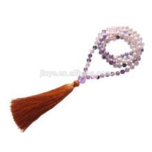 108 perlas de oración con cuentas de perlas de cristal anudadas a mano, collar con borlas de oración con cuentas de Mala
